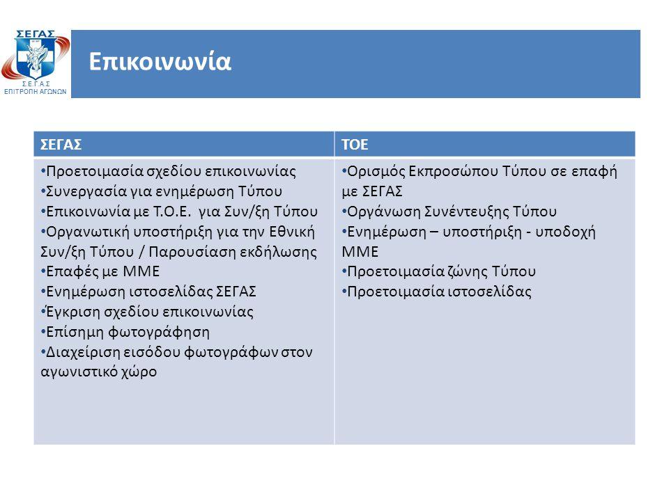 Σ.Ε.Γ.Α.Σ ΕΠΙΤΡΟΠΗ ΑΓΩΝΩΝ Επικοινωνία ΣΕΓΑΣΤΟΕ Προετοιμασία σχεδίου επικοινωνίας Συνεργασία για ενημέρωση Τύπου Επικοινωνία με Τ.Ο.Ε.