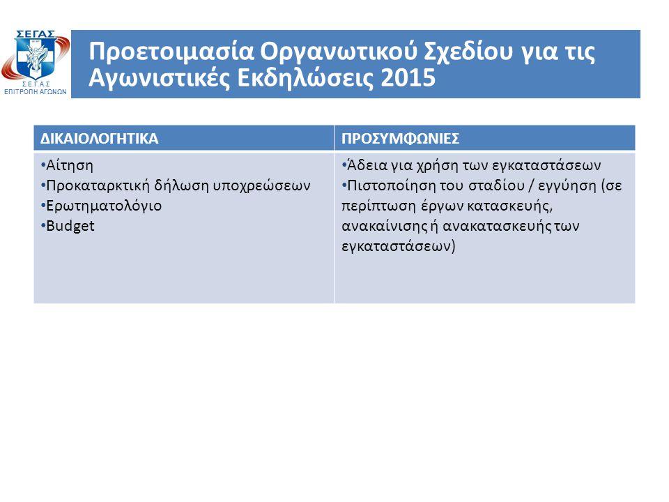 Σ.Ε.Γ.Α.Σ ΕΠΙΤΡΟΠΗ ΑΓΩΝΩΝ Προετοιμασία Οργανωτικού Σχεδίου για τις Αγωνιστικές Εκδηλώσεις 2015 ΔΙΚΑΙΟΛΟΓΗΤΙΚΑΠΡΟΣΥΜΦΩΝΙΕΣ Αίτηση Προκαταρκτική δήλωση υποχρεώσεων Ερωτηματολόγιο Budget Άδεια για χρήση των εγκαταστάσεων Πιστοποίηση του σταδίου / εγγύηση (σε περίπτωση έργων κατασκευής, ανακαίνισης ή ανακατασκευής των εγκαταστάσεων)