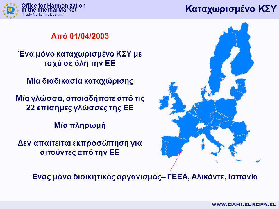 Office for Harmonization in the Internal Market (Trade Marks and Designs) Καταχωρισμένο ΚΣΥ Από 01/04/2003 Ένα μόνο καταχωρισμένο ΚΣΥ με ισχύ σε όλη την ΕΕ Μία διαδικασία καταχώρισης Μία γλώσσα, oποιαδήποτε από τις 22 επίσημες γλώσσες της ΕΕ Μία πληρωμή Δεν απαιτείται εκπροσώπηση για αιτούντες από την ΕΕ Ένας μόνο διοικητικός οργανισμός– ΓΕΕΑ, Αλικάντε, Ισπανία