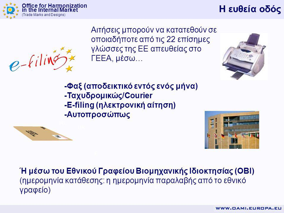 Office for Harmonization in the Internal Market (Trade Marks and Designs) P F IRL UK EL Η ευθεία οδός -Φαξ (αποδεικτικό εντός ενός μήνα) -Ταχυδρομικώς