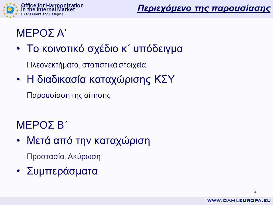 Office for Harmonization in the Internal Market (Trade Marks and Designs) Περιεχόμενο της παρουσίασης ΜΕΡΟΣ Α' Το κοινοτικό σχέδιο κ΄ υπόδειγμα Πλεονεκτήματα, στατιστικά στοιχεία Η διαδικασία καταχώρισης ΚΣΥ Παρουσίαση της αίτησης ΜΕΡΟΣ Β΄ Μετά από την καταχώριση Προστασία, Ακύρωση Συμπεράσματα 2