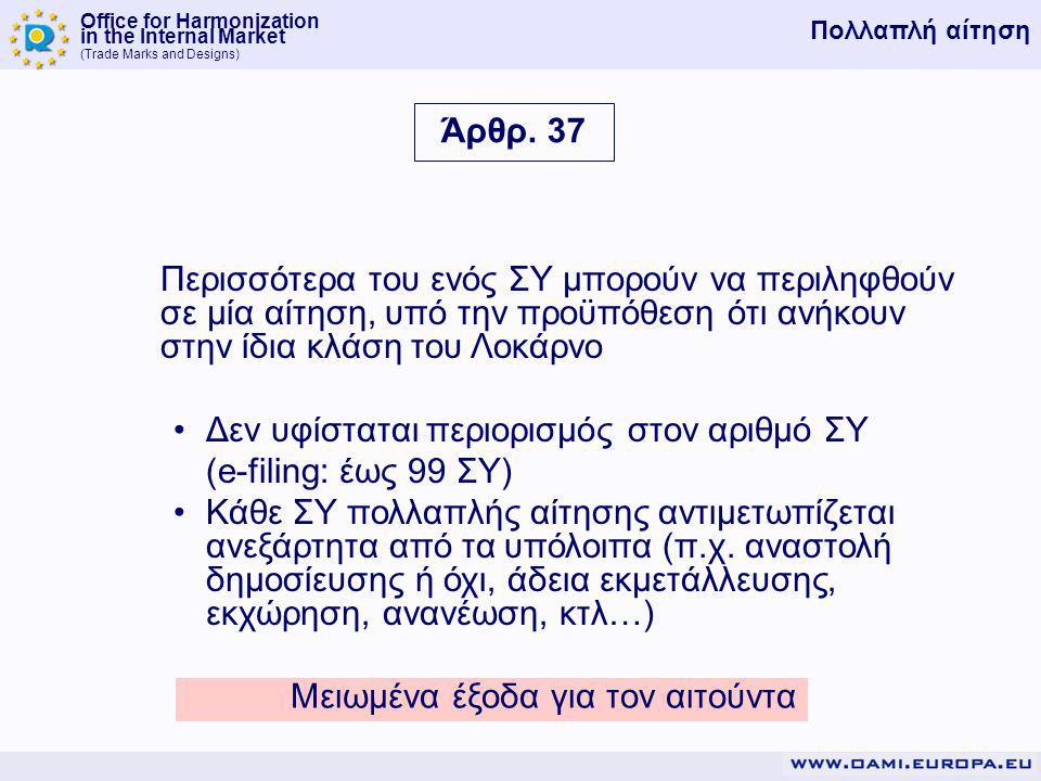 Office for Harmonization in the Internal Market (Trade Marks and Designs) Περισσότερα του ενός ΣΥ μπορούν να περιληφθούν σε μία αίτηση, υπό την προϋπόθεση ότι ανήκουν στην ίδια κλάση του Λοκάρνο Δεν υφίσταται περιορισμός στον αριθμό ΣΥ (e-filing: έως 99 ΣΥ) Κάθε ΣΥ πολλαπλής αίτησης αντιμετωπίζεται ανεξάρτητα από τα υπόλοιπα (π.χ.