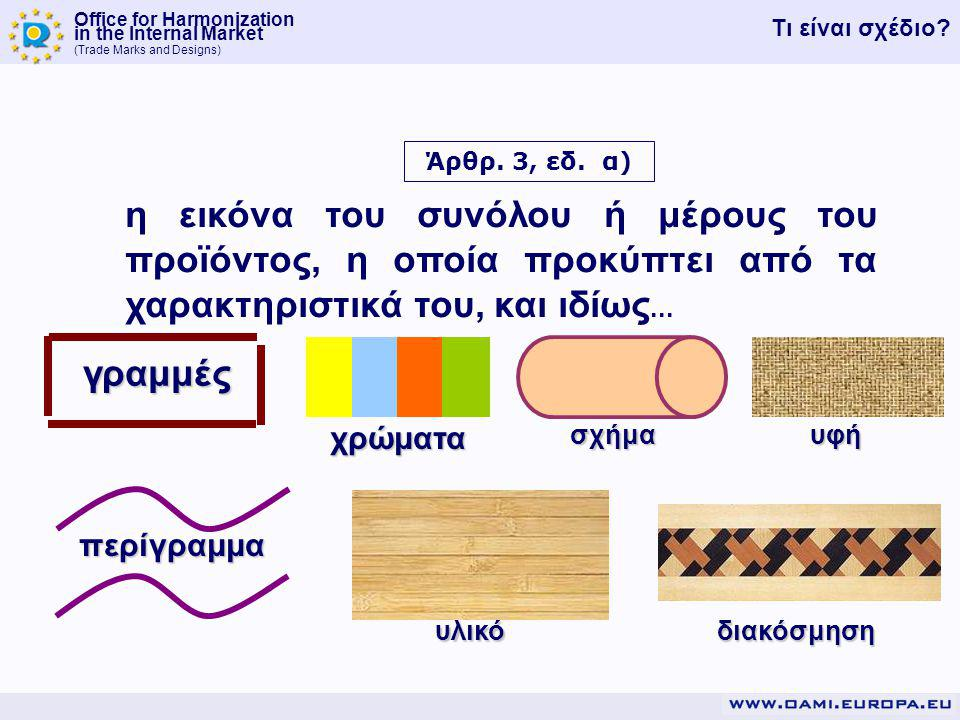 Office for Harmonization in the Internal Market (Trade Marks and Designs) Άρθρ.