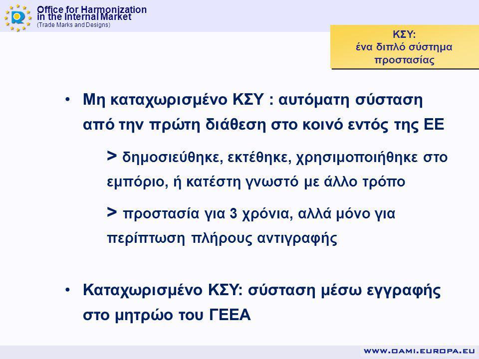 Office for Harmonization in the Internal Market (Trade Marks and Designs) ΚΣΥ: ένα διπλό σύστημα προστασίας Μη καταχωρισμένο ΚΣΥ : αυτόματη σύσταση από την πρώτη διάθεση στο κοινό εντός της ΕΕ > δημοσιεύθηκε, εκτέθηκε, χρησιμοποιήθηκε στο εμπόριο, ή κατέστη γνωστό με άλλο τρόπο > προστασία για 3 χρόνια, αλλά μόνο για περίπτωση πλήρους αντιγραφής Καταχωρισμένο ΚΣΥ: σύσταση μέσω εγγραφής στο μητρώο του ΓΕΕΑ