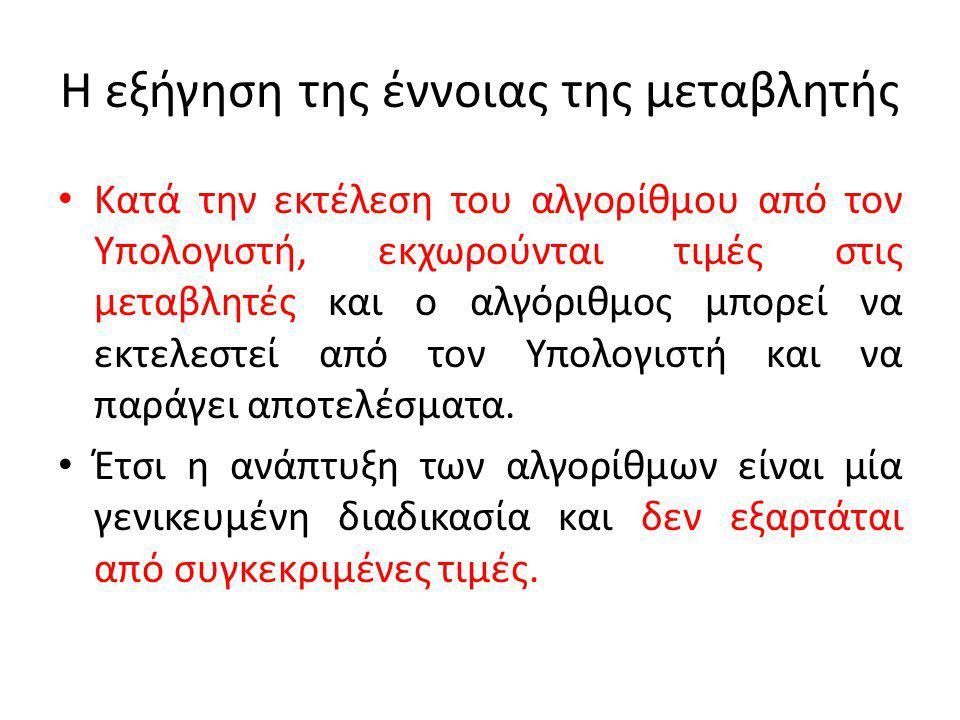 Εντολές του Αλγορίθμου Οι εντολές είναι λέξεις (συνήθως ρήματα σε προστακτική) ή συμβολισμοί που προσδιορίζουν μία σαφή ενέργεια.