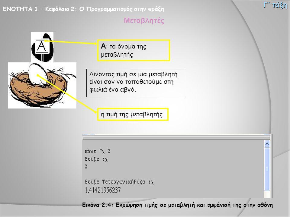 ΕΝΟΤΗΤΑ 1 – Κεφάλαιο 2: Ο Προγραμματισμός στην πράξη Γ΄ τάξη Μεταβλητές Δίνοντας τιμή σε μία μεταβλητή είναι σαν να τοποθετούμε στη φωλιά ένα αβγό. Α