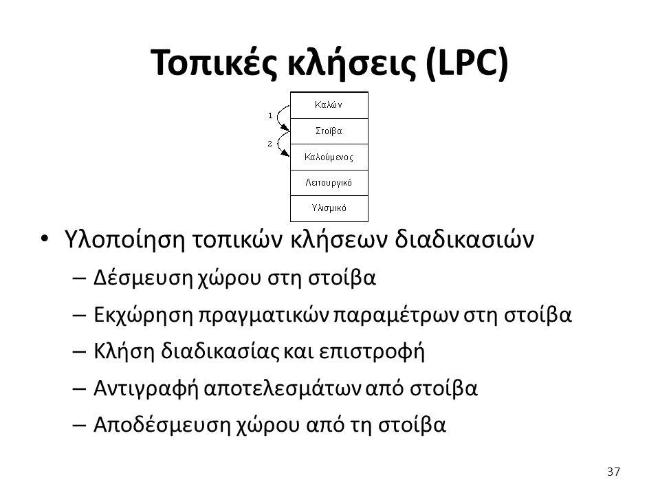 Τοπικές κλήσεις (LPC) Υλοποίηση τοπικών κλήσεων διαδικασιών – Δέσμευση χώρου στη στοίβα – Εκχώρηση πραγματικών παραμέτρων στη στοίβα – Κλήση διαδικασίας και επιστροφή – Αντιγραφή αποτελεσμάτων από στοίβα – Αποδέσμευση χώρου από τη στοίβα 37