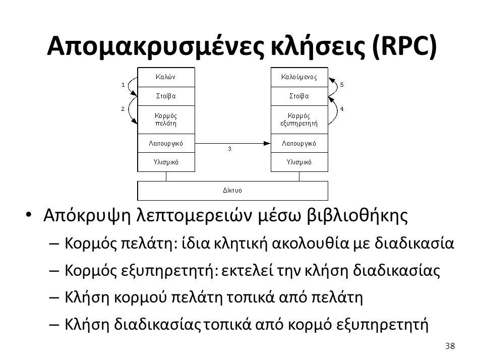 Απομακρυσμένες κλήσεις (RPC) Απόκρυψη λεπτομερειών μέσω βιβλιοθήκης – Κορμός πελάτη: ίδια κλητική ακολουθία με διαδικασία – Κορμός εξυπηρετητή: εκτελεί την κλήση διαδικασίας – Κλήση κορμού πελάτη τοπικά από πελάτη – Κλήση διαδικασίας τοπικά από κορμό εξυπηρετητή 38