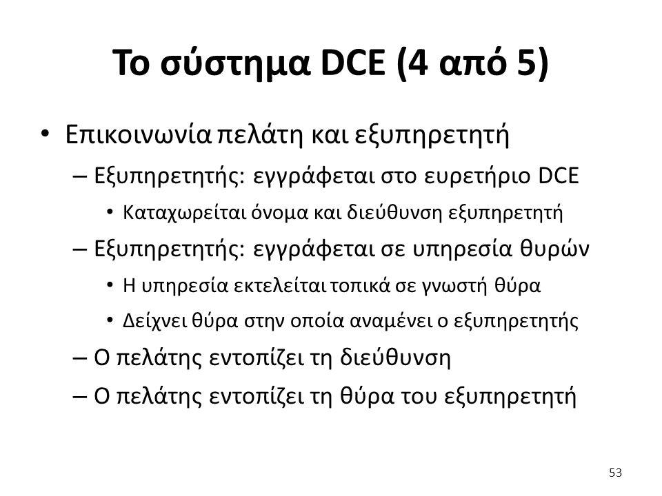 To σύστημα DCE (4 από 5) Επικοινωνία πελάτη και εξυπηρετητή – Εξυπηρετητής: εγγράφεται στο ευρετήριο DCE Καταχωρείται όνομα και διεύθυνση εξυπηρετητή – Εξυπηρετητής: εγγράφεται σε υπηρεσία θυρών Η υπηρεσία εκτελείται τοπικά σε γνωστή θύρα Δείχνει θύρα στην οποία αναμένει ο εξυπηρετητής – Ο πελάτης εντοπίζει τη διεύθυνση – Ο πελάτης εντοπίζει τη θύρα του εξυπηρετητή 53