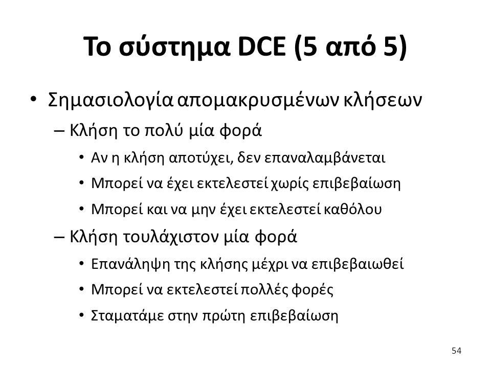 To σύστημα DCE (5 από 5) Σημασιολογία απομακρυσμένων κλήσεων – Κλήση το πολύ μία φορά Αν η κλήση αποτύχει, δεν επαναλαμβάνεται Μπορεί να έχει εκτελεστεί χωρίς επιβεβαίωση Μπορεί και να μην έχει εκτελεστεί καθόλου – Κλήση τουλάχιστον μία φορά Επανάληψη της κλήσης μέχρι να επιβεβαιωθεί Μπορεί να εκτελεστεί πολλές φορές Σταματάμε στην πρώτη επιβεβαίωση 54