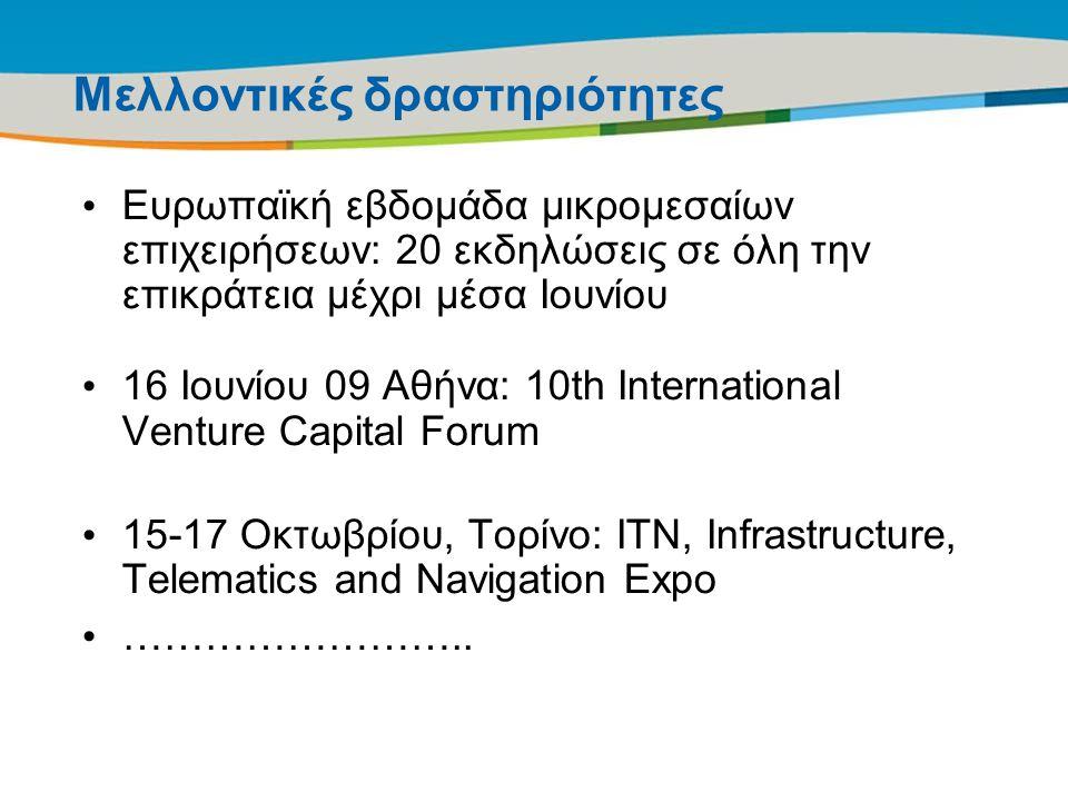 Title of the presentation | Date |21 Μελλοντικές δραστηριότητες Ευρωπαϊκή εβδομάδα μικρομεσαίων επιχειρήσεων: 20 εκδηλώσεις σε όλη την επικράτεια μέχρ