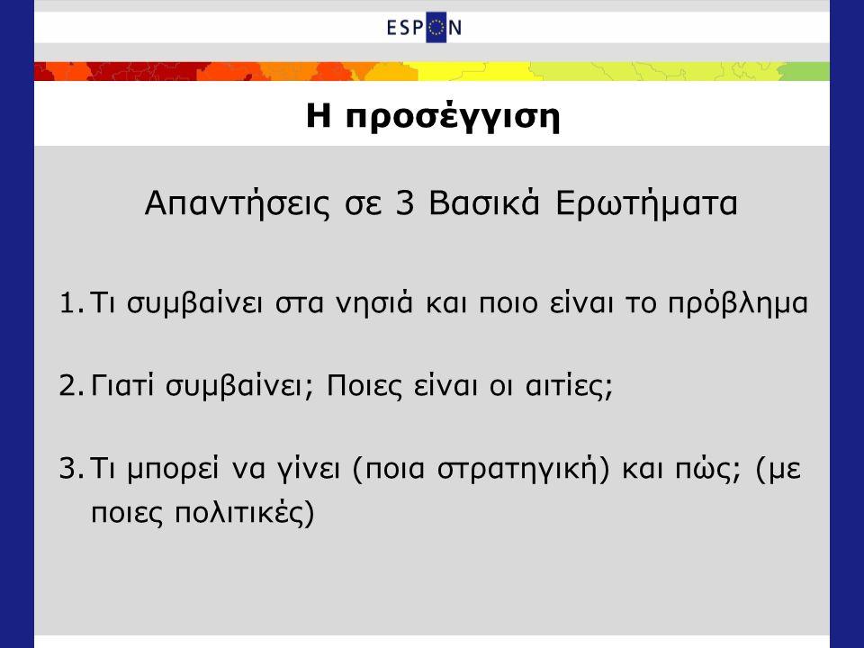 Η προσέγγιση Απαντήσεις σε 3 Βασικά Ερωτήματα 1.Τι συμβαίνει στα νησιά και ποιο είναι το πρόβλημα 2.Γιατί συμβαίνει; Ποιες είναι οι αιτίες; 3.Τι μπορεί να γίνει (ποια στρατηγική) και πώς; (με ποιες πολιτικές)
