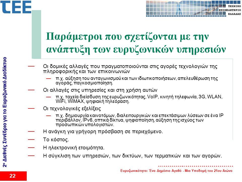 Ευρυζωνικότητα: Ένα Δημόσιο Αγαθό - Μια Υποδομή του 21ου Αιώνα 22 2 ο Διεθνές Συνέδριο για το Eυρυζωνικό Διαδίκτυο Παράμετροι που σχετίζονται με την ανάπτυξη των ευρυζωνικών υπηρεσιών — Οι δομικές αλλαγές που πραγματοποιούνται στις αγορές τεχνολογιών της πληροφορικής και των επικοινωνιών —π.χ.