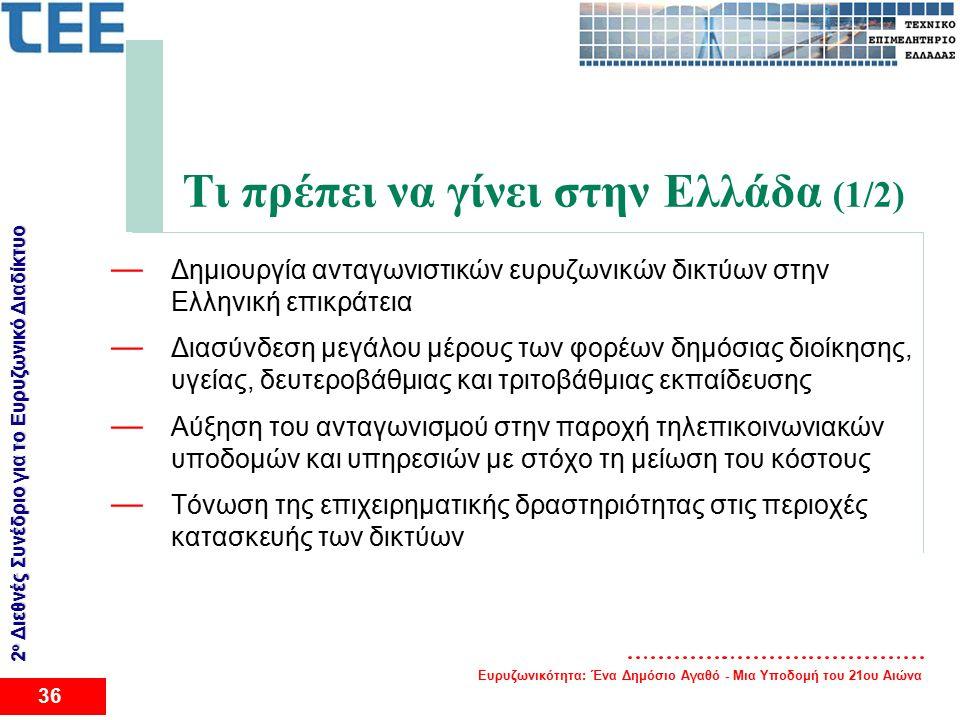 Ευρυζωνικότητα: Ένα Δημόσιο Αγαθό - Μια Υποδομή του 21ου Αιώνα 36 2 ο Διεθνές Συνέδριο για το Eυρυζωνικό Διαδίκτυο Τι πρέπει να γίνει στην Ελλάδα (1/2) — Δημιουργία ανταγωνιστικών ευρυζωνικών δικτύων στην Ελληνική επικράτεια — Διασύνδεση μεγάλου μέρους των φορέων δημόσιας διοίκησης, υγείας, δευτεροβάθμιας και τριτοβάθμιας εκπαίδευσης — Αύξηση του ανταγωνισμού στην παροχή τηλεπικοινωνιακών υποδομών και υπηρεσιών με στόχο τη μείωση του κόστους — Τόνωση της επιχειρηματικής δραστηριότητας στις περιοχές κατασκευής των δικτύων
