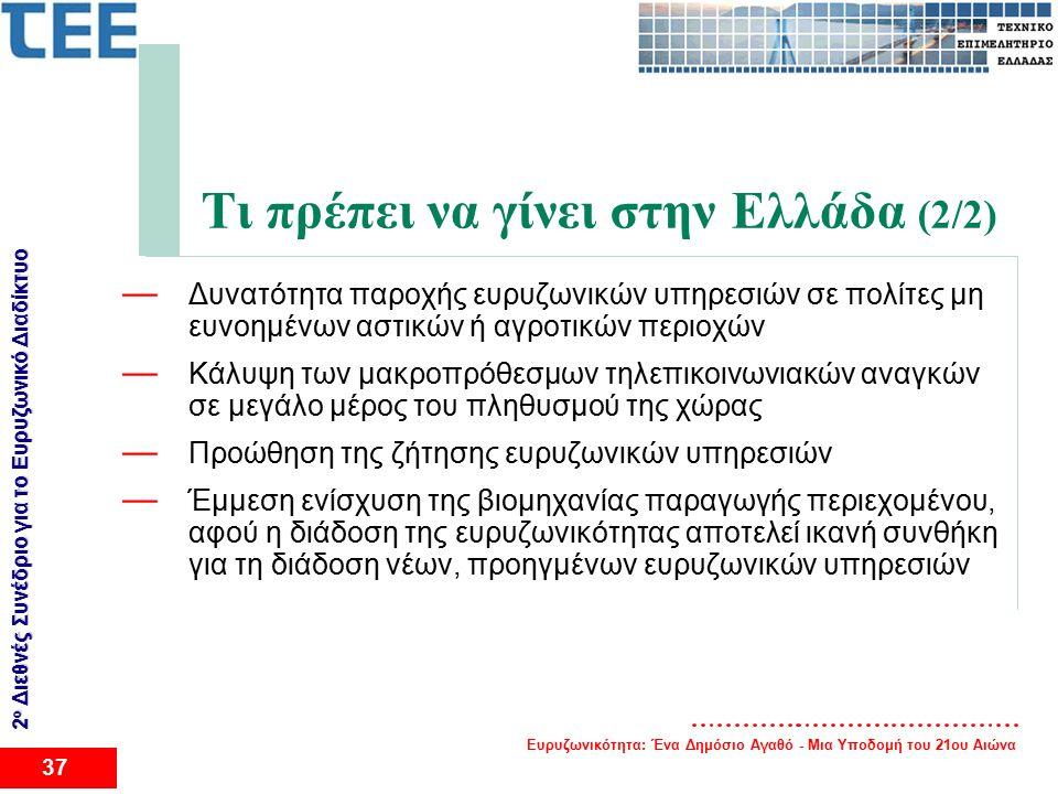 Ευρυζωνικότητα: Ένα Δημόσιο Αγαθό - Μια Υποδομή του 21ου Αιώνα 37 2 ο Διεθνές Συνέδριο για το Eυρυζωνικό Διαδίκτυο Τι πρέπει να γίνει στην Ελλάδα (2/2) — Δυνατότητα παροχής ευρυζωνικών υπηρεσιών σε πολίτες μη ευνοημένων αστικών ή αγροτικών περιοχών — Κάλυψη των μακροπρόθεσμων τηλεπικοινωνιακών αναγκών σε μεγάλο μέρος του πληθυσμού της χώρας — Προώθηση της ζήτησης ευρυζωνικών υπηρεσιών — Έμμεση ενίσχυση της βιομηχανίας παραγωγής περιεχομένου, αφού η διάδοση της ευρυζωνικότητας αποτελεί ικανή συνθήκη για τη διάδοση νέων, προηγμένων ευρυζωνικών υπηρεσιών