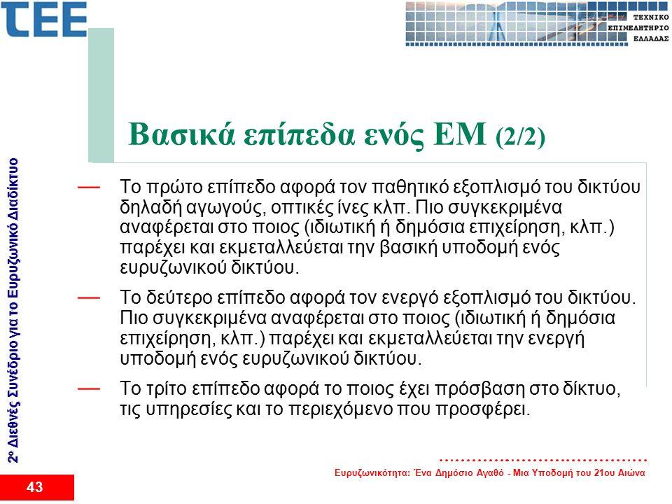Ευρυζωνικότητα: Ένα Δημόσιο Αγαθό - Μια Υποδομή του 21ου Αιώνα 43 2 ο Διεθνές Συνέδριο για το Eυρυζωνικό Διαδίκτυο Βασικά επίπεδα ενός EM (2/2) — Το πρώτο επίπεδο αφορά τον παθητικό εξοπλισμό του δικτύου δηλαδή αγωγούς, οπτικές ίνες κλπ.