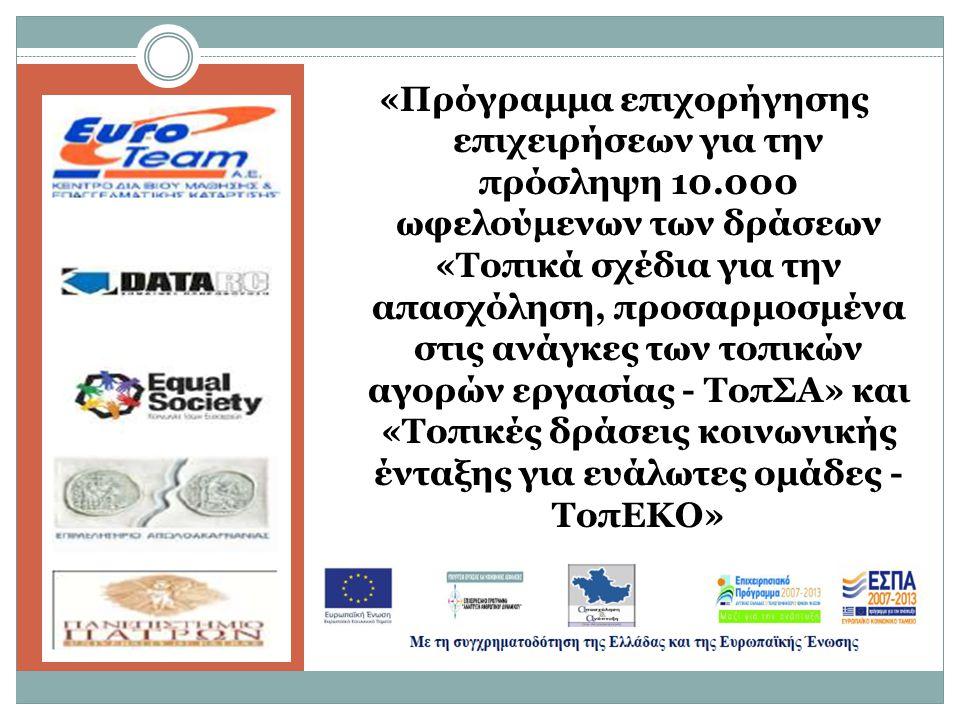 τηδτγ «Πρόγραμμα επιχορήγησης επιχειρήσεων για την πρόσληψη 10.000 ωφελούμενων των δράσεων «Τοπικά σχέδια για την απασχόληση, προσαρμοσμένα στις ανάγκες των τοπικών αγορών εργασίας - ΤοπΣΑ» και «Τοπικές δράσεις κοινωνικής ένταξης για ευάλωτες ομάδες - ΤοπΕΚΟ»