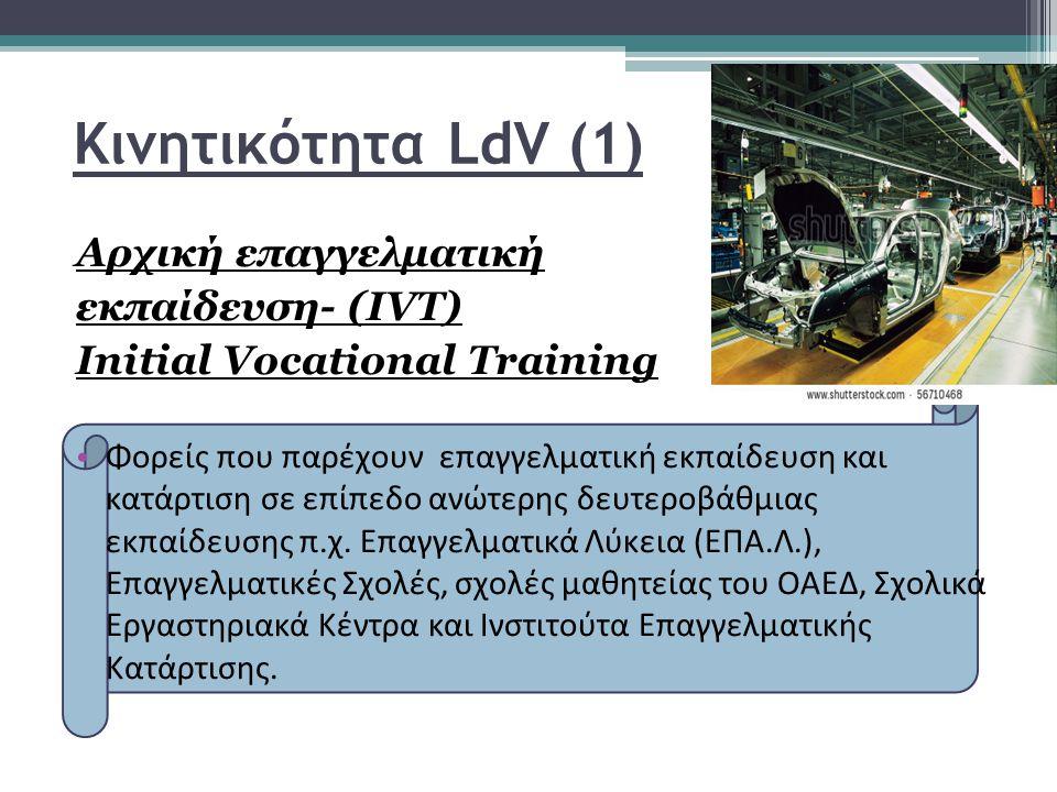 Κινητικότητα LdV (1) Aρχική επαγγελματική εκπαίδευση- (IVT) Initial Vocational Training Φορείς που παρέχουν επαγγελματική εκπαίδευση και κατάρτιση σε επίπεδο ανώτερης δευτεροβάθμιας εκπαίδευσης π.χ.