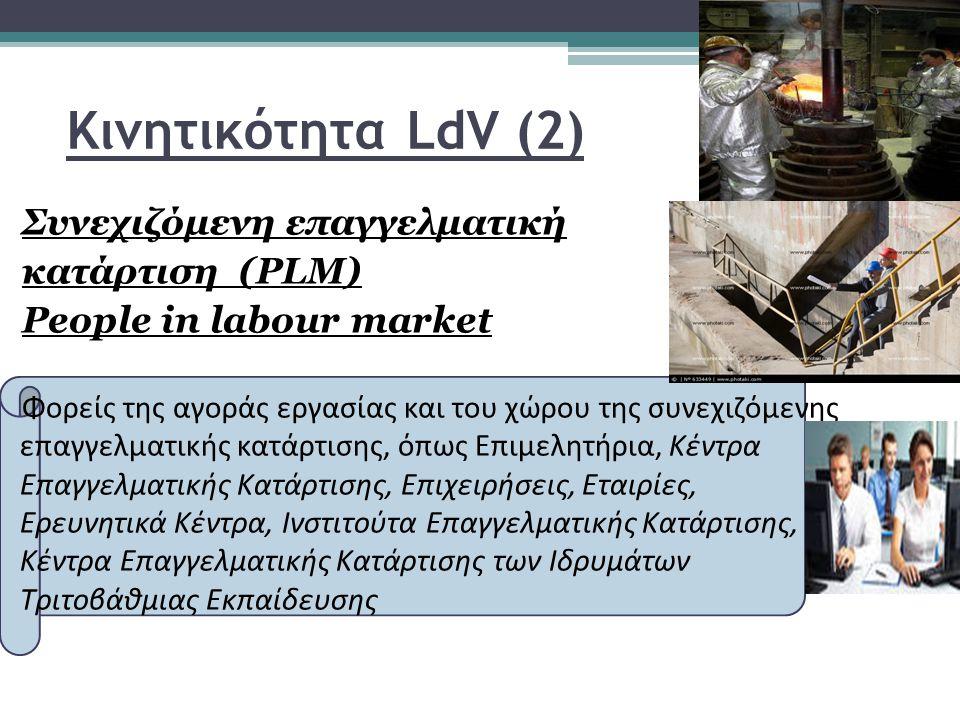 Κινητικότητα LdV (2) Συνεχιζόμενη επαγγελματική κατάρτιση (PLM) People in labour market Φορείς της αγοράς εργασίας και του χώρου της συνεχιζόμενης επαγγελματικής κατάρτισης, όπως Επιμελητήρια, Κέντρα Επαγγελματικής Κατάρτισης, Επιχειρήσεις, Εταιρίες, Ερευνητικά Κέντρα, Ινστιτούτα Επαγγελματικής Κατάρτισης, Κέντρα Επαγγελματικής Κατάρτισης των Ιδρυμάτων Τριτοβάθμιας Εκπαίδευσης