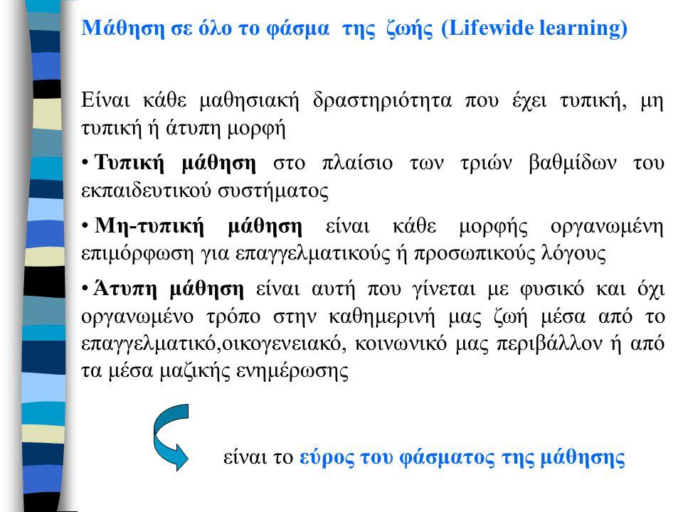 Μάθηση σε όλο το φάσμα της ζωής (Lifewide learning) Είναι κάθε μαθησιακή δραστηριότητα που έχει τυπική, μη τυπική ή άτυπη μορφή Τυπική μάθηση στο πλαί