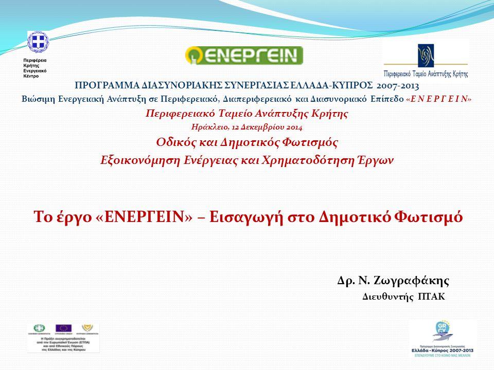 Αυτό το στρατηγικό έργο έχει διάρκεια 24 μήνες (από 1/9/2013 έως 31/8/2015) Στο έργο συμμετέχουν 8 εταίροι: Η Περιφέρεια Κρήτης (ΠΚ), Η Περιφέρεια του Νοτίου Αιγαίου (ΠΝΑ), Η Περιφέρεια του Βορείου Αιγαίου (ΠΒΑ) Τα Περιφερειακά Ταμεία Ανάπτυξης Κρήτης (ΠΤΑΚ) και Βορείου Αιγαίου (ΠΤΑΒΑ) Η Αναπτυξιακή Εταιρεία της ΠΝΑ (ΑΕΠΝΑ) Κέντρο Ανανεώσιμων Πηγών & Εξοικονόμησης Ενέργειας (ΚΑΠΕ).