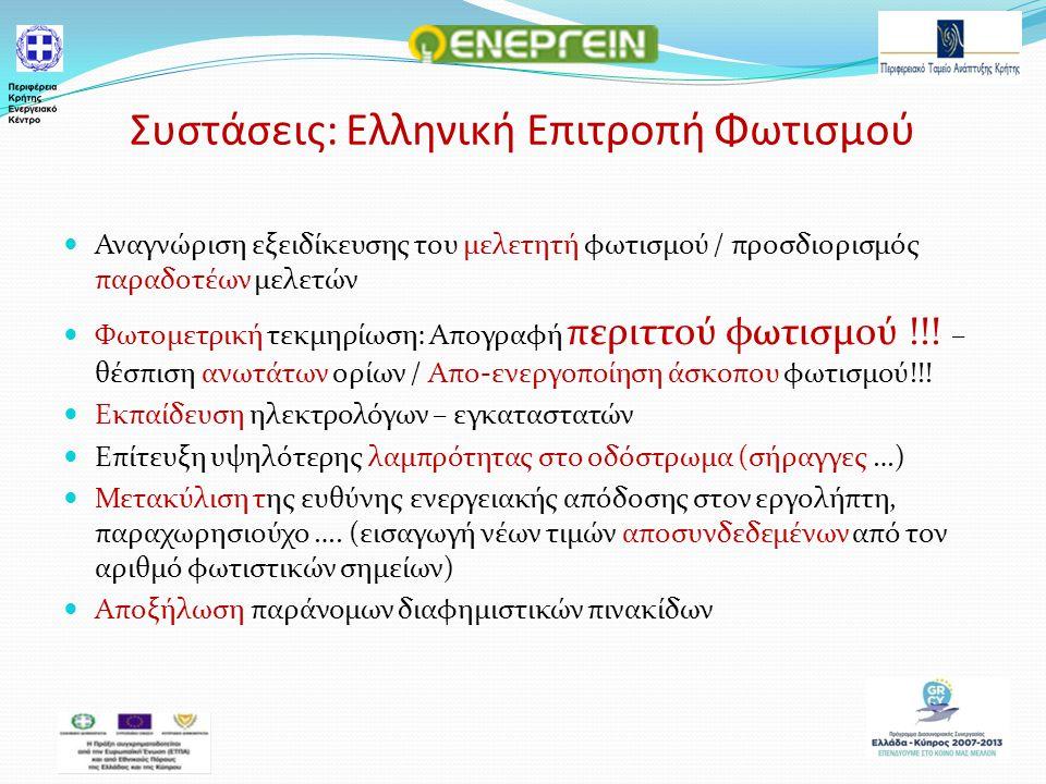 Συστάσεις: Ελληνική Επιτροπή Φωτισμού Αναγνώριση εξειδίκευσης του μελετητή φωτισμού / προσδιορισμός παραδοτέων μελετών Φωτομετρική τεκμηρίωση: Απογραφή περιττού φωτισμού !!.