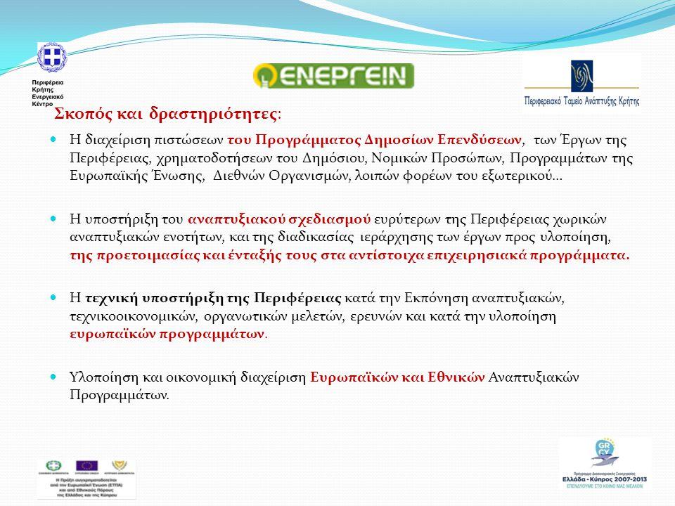 Η διαχείριση πιστώσεων του Προγράμματος Δημοσίων Επενδύσεων, των Έργων της Περιφέρειας, χρηματοδοτήσεων του Δημόσιου, Νομικών Προσώπων, Προγραμμάτων της Ευρωπαϊκής Ένωσης, Διεθνών Οργανισμών, λοιπών φορέων του εξωτερικού… Η υποστήριξη του αναπτυξιακού σχεδιασμού ευρύτερων της Περιφέρειας χωρικών αναπτυξιακών ενοτήτων, και της διαδικασίας ιεράρχησης των έργων προς υλοποίηση, της προετοιμασίας και ένταξής τους στα αντίστοιχα επιχειρησιακά προγράμματα.