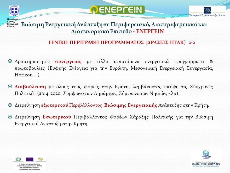 ΓΕΝΙΚΗ ΠΕΡΙΓΡΑΦΗ ΠΡΟΓΡΑΜΜΑΤΟΣ (ΔΡΑΣΕΙΣ ΠΤΑΚ) 2-2  Δραστηριότητες συνέργειας με άλλα υφιστάμενα ενεργειακά προγράμματα & πρωτοβουλίες (Ευφυής Ενέργεια για την Ευρώπη, Μεσογειακή Ενεργειακή Συνεργασία, Horizon …)  Διαβούλευση με όλους τους φορείς στην Κρήτη, λαμβάνοντας υπόψη τις Σύγχρονές Πολιτικές (2014-2020, Σύμφωνο των Δημάρχων, Σύμφωνο των Νησιών, κλπ).