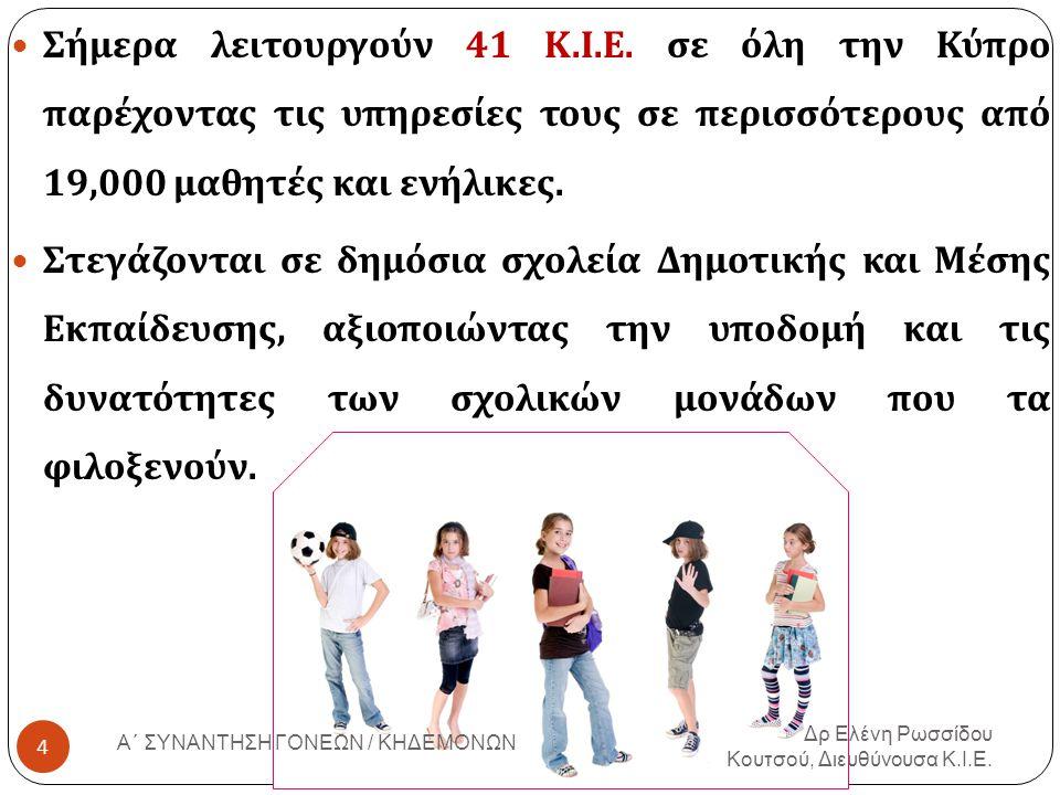 Σήμερα λειτουργούν 41 Κ. Ι. Ε. σε όλη την Κύπρο παρέχοντας τις υπηρεσίες τους σε περισσότερους από 19,000 μαθητές και ενήλικες. Στεγάζονται σε δημόσια