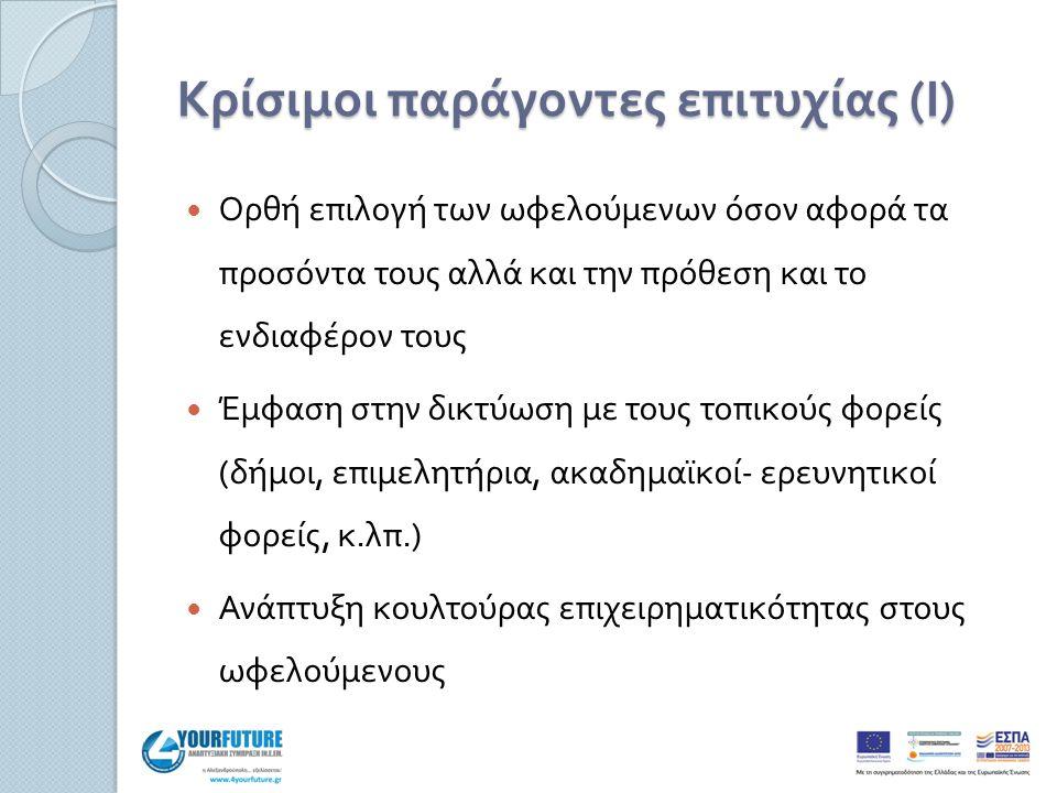 Κρίσιμοι παράγοντες επιτυχίας ( Ι ) Ορθή επιλογή των ωφελούμενων όσον αφορά τα προσόντα τους αλλά και την πρόθεση και το ενδιαφέρον τους Έμφαση στην δικτύωση με τους τοπικούς φορείς ( δήμοι, επιμελητήρια, ακαδημαϊκοί - ερευνητικοί φορείς, κ.