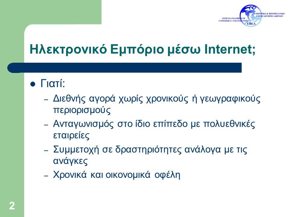 3 Ηλεκτρονικό Εμπόριο μέσω Internet; (2) Γιατί όχι* (κατά προτεραιότητα) : – Προβλήματα Ασφάλειας στις πληρωμές (77%) – Τα προϊόντα – οι υπηρεσίες δεν είναι κατάλληλες για το Internet (71%) – Οι πελάτες – οι άλλες επιχειρήσεις δεν είναι έτοιμες για διαδικτυακές πωλήσεις (65%) – Κίνδυνος ελαττωματικών ή χαμηλής ποιότητας προϊόντων (65%) – Έλλειψη εξοικείωσης με τις τεχνολογίες/εφαρμογές (61%) – Αβεβαιότητα για το νομικό πλαίσιο (56%) *Ερωτηματολόγιο έργου La Mer σε ελληνικές ΜΜΕ (09/2003)