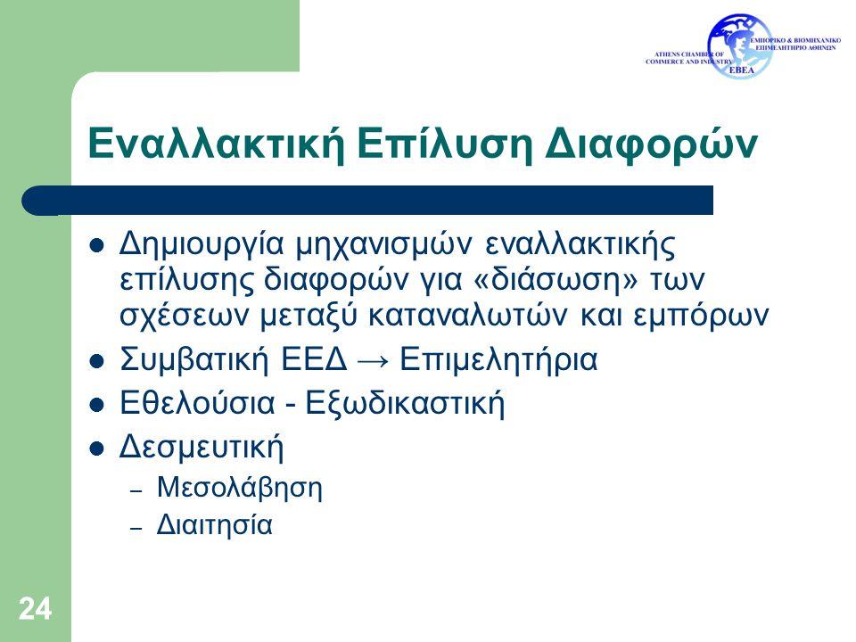 24 Εναλλακτική Επίλυση Διαφορών Δημιουργία μηχανισμών εναλλακτικής επίλυσης διαφορών για «διάσωση» των σχέσεων μεταξύ καταναλωτών και εμπόρων Συμβατικ