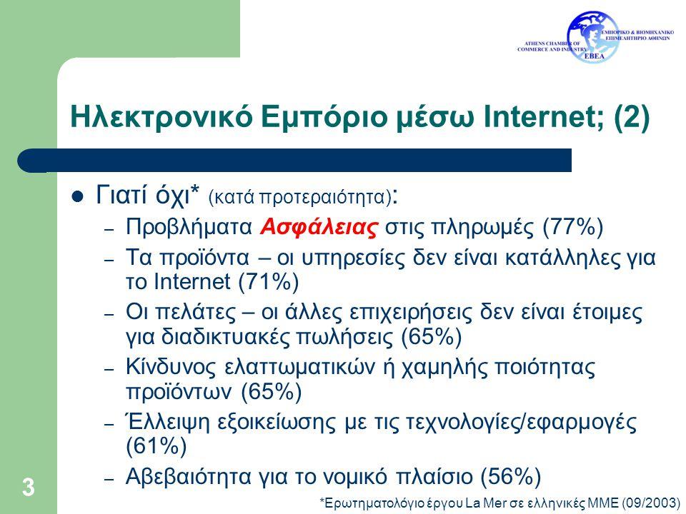 3 Ηλεκτρονικό Εμπόριο μέσω Internet; (2) Γιατί όχι* (κατά προτεραιότητα) : – Προβλήματα Ασφάλειας στις πληρωμές (77%) – Τα προϊόντα – οι υπηρεσίες δεν