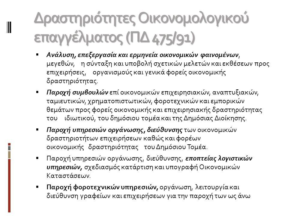 Δραστηριότητες Οικονομολογικού επαγγέλματος (ΠΔ 475/91)  Ανάλυση, επεξεργασία και ερμηνεία οικονομικών φαινομένων, μεγεθών, η σύνταξη και υποβολή σχε
