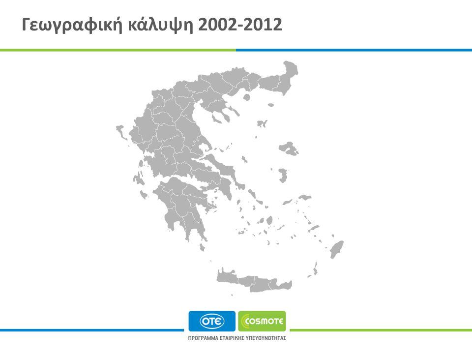 Γεωγραφική κάλυψη 2002-2012