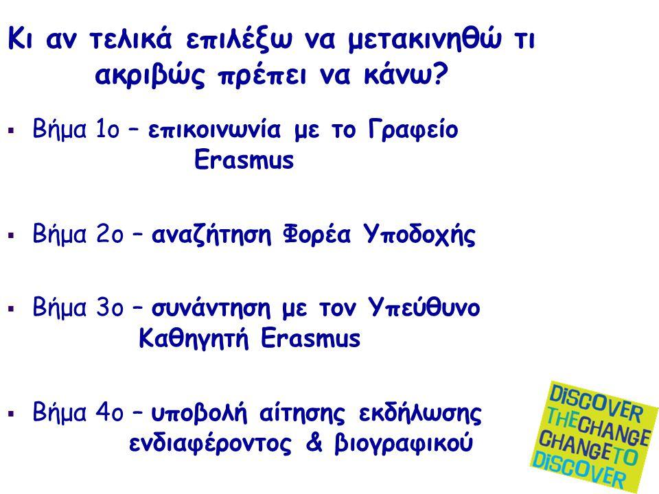 Κι αν τελικά επιλέξω να μετακινηθώ τι ακριβώς πρέπει να κάνω?  Βήμα 1ο – επικοινωνία με το Γραφείο Erasmus  Βήμα 2ο – αναζήτηση Φορέα Υποδοχής  Βήμ