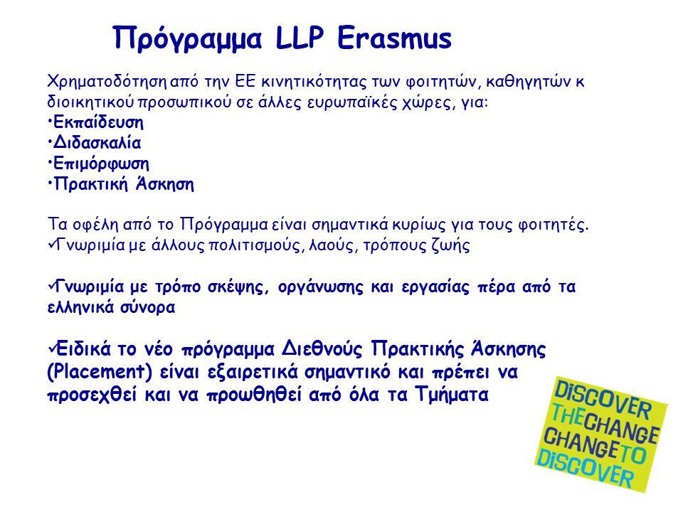 Πρόγραμμα LLP Erasmus Χρηματοδότηση από την ΕΕ κινητικότητας των φοιτητών, καθηγητών κ διοικητικού προσωπικού σε άλλες ευρωπαϊκές χώρες, για: Εκπαίδευση Διδασκαλία Επιμόρφωση Πρακτική Άσκηση Τα οφέλη από το Πρόγραμμα είναι σημαντικά κυρίως για τους φοιτητές.