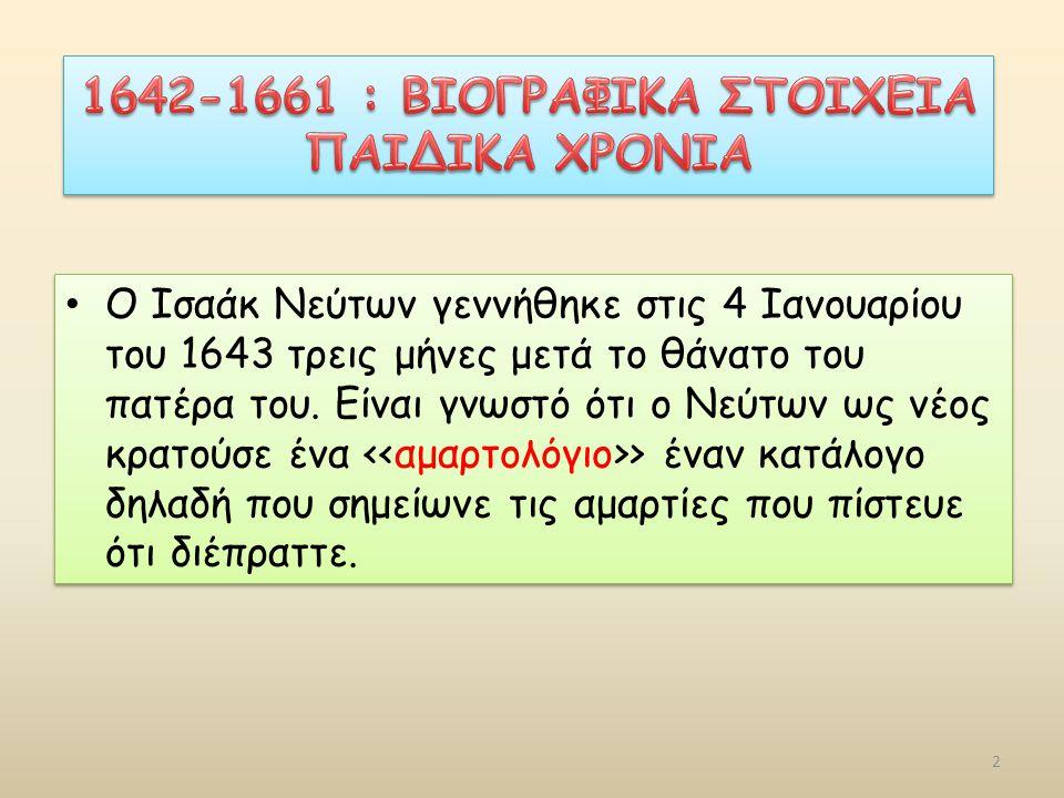 Ο Iσαάκ Nεύτων γεννήθηκε στις 4 Ιανουαρίου του 1643 τρεις μήνες μετά το θάνατο του πατέρα του.