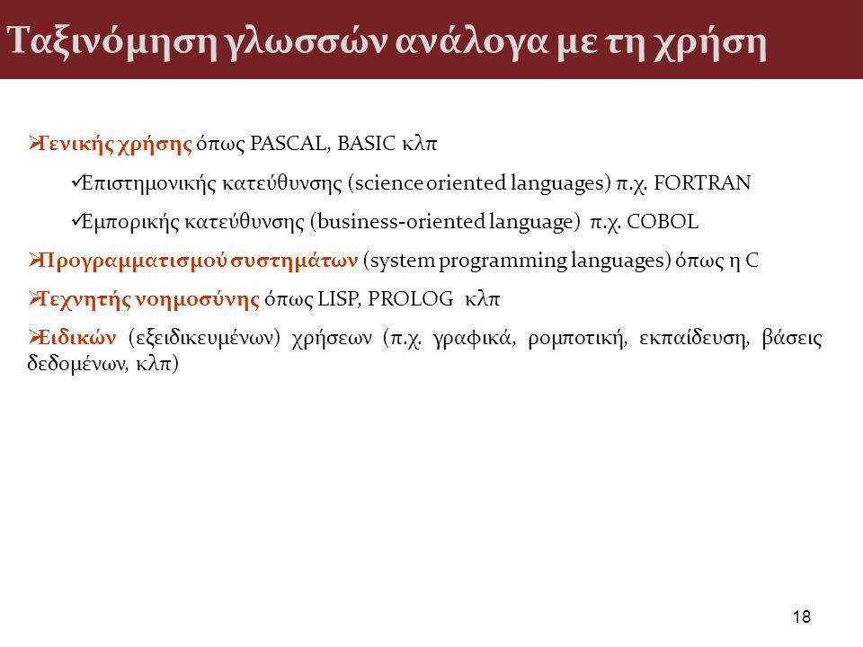 Ταξινόμηση γλωσσών ανάλογα με τη χρήση 18  Γενικής χρήσης όπως PASCAL, BASIC κλπ Επιστημονικής κατεύθυνσης (science oriented languages) π.χ. FORTRAN