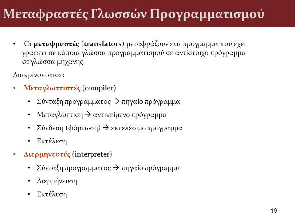 Μεταφραστές Γλωσσών Προγραμματισμού 19 Οι μεταφραστές (translators) μεταφράζουν ένα πρόγραμμα που έχει γραφτεί σε κάποια γλώσσα προγραμματισμού σε αντ