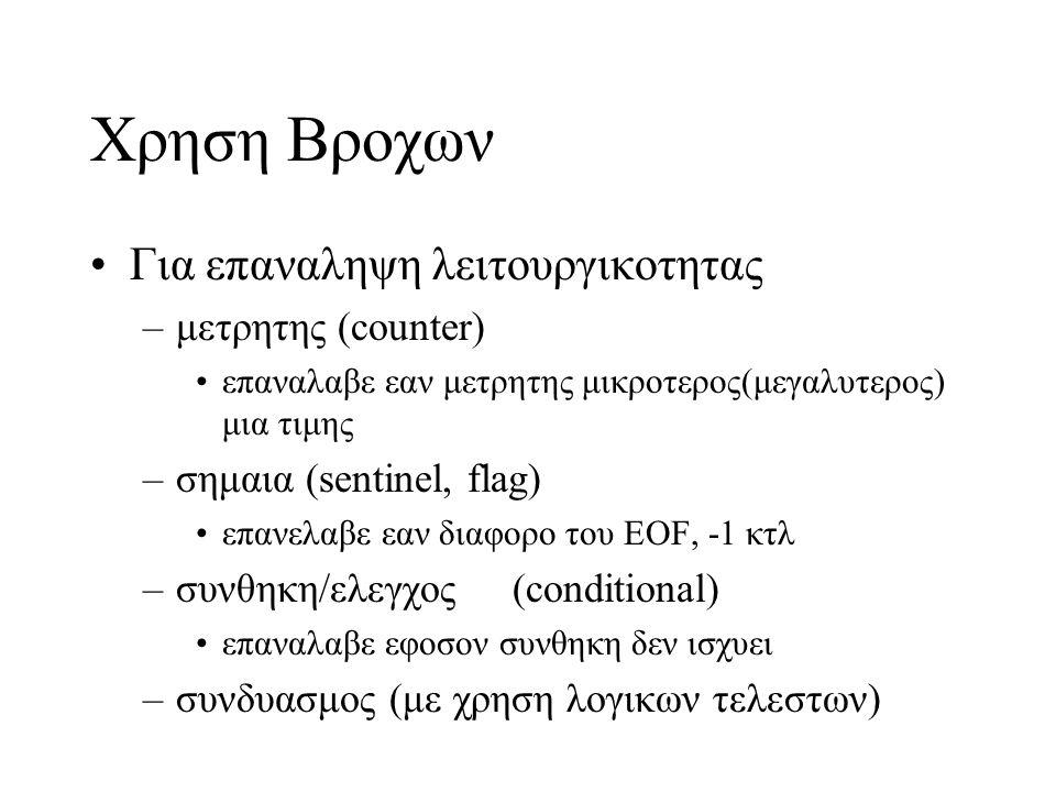Απειροι Βροχοι –while(1){} –while(x=1){} –for(;i=1;){} –do{}while(x=13); –Μη ή λανθασμενη ενημερωση της μεταβλητης ελεγχου int i = 0, n= 10; while(i<n){ printf( %d ,i); }