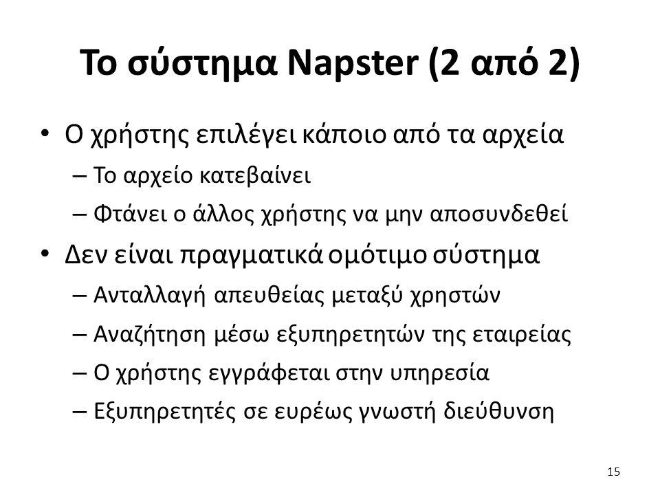 Το σύστημα Napster (2 από 2) Ο χρήστης επιλέγει κάποιο από τα αρχεία – Το αρχείο κατεβαίνει – Φτάνει ο άλλος χρήστης να μην αποσυνδεθεί Δεν είναι πραγματικά ομότιμο σύστημα – Ανταλλαγή απευθείας μεταξύ χρηστών – Αναζήτηση μέσω εξυπηρετητών της εταιρείας – Ο χρήστης εγγράφεται στην υπηρεσία – Εξυπηρετητές σε ευρέως γνωστή διεύθυνση 15