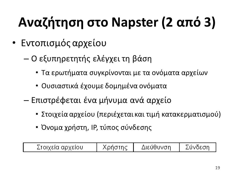 Αναζήτηση στο Napster (2 από 3) Εντοπισμός αρχείου – Ο εξυπηρετητής ελέγχει τη βάση Τα ερωτήματα συγκρίνονται με τα ονόματα αρχείων Ουσιαστικά έχουμε δομημένα ονόματα – Επιστρέφεται ένα μήνυμα ανά αρχείο Στοιχεία αρχείου (περιέχεται και τιμή κατακερματισμού) Όνομα χρήστη, IP, τύπος σύνδεσης 19