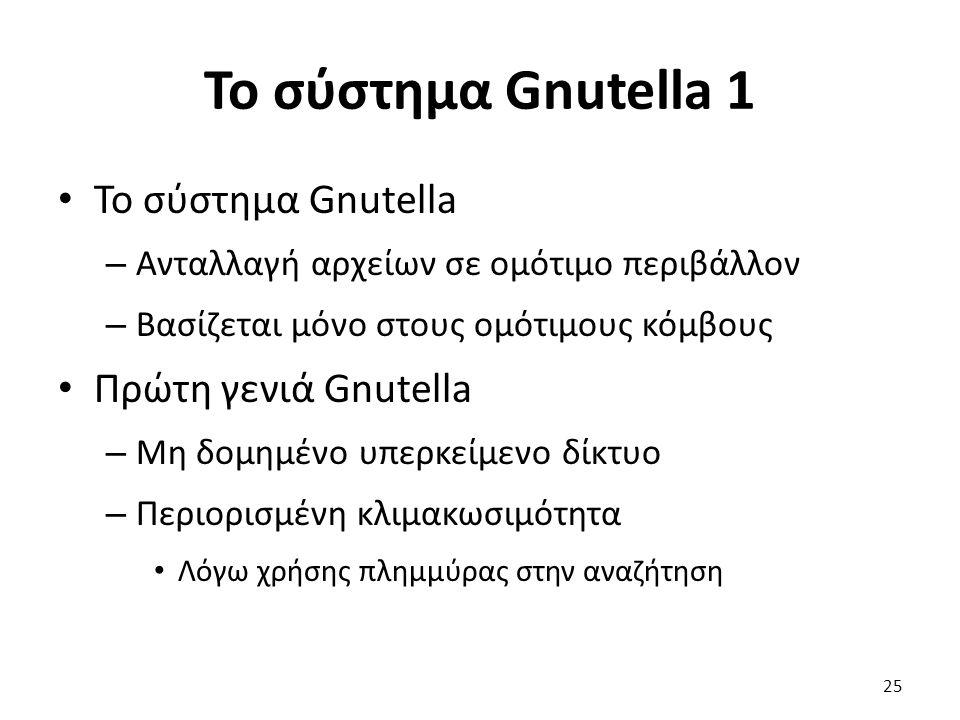 Το σύστημα Gnutella 1 Το σύστημα Gnutella – Ανταλλαγή αρχείων σε ομότιμο περιβάλλον – Βασίζεται μόνο στους ομότιμους κόμβους Πρώτη γενιά Gnutella – Μη δομημένο υπερκείμενο δίκτυο – Περιορισμένη κλιμακωσιμότητα Λόγω χρήσης πλημμύρας στην αναζήτηση 25