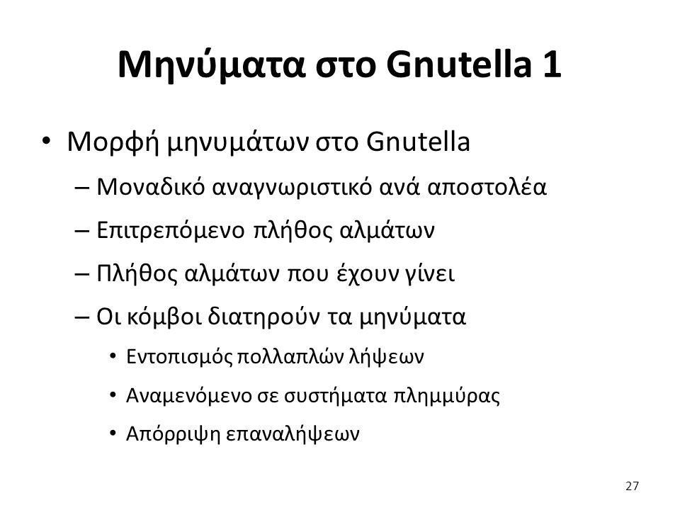 Μηνύματα στο Gnutella 1 Μορφή μηνυμάτων στο Gnutella – Μοναδικό αναγνωριστικό ανά αποστολέα – Επιτρεπόμενο πλήθος αλμάτων – Πλήθος αλμάτων που έχουν γίνει – Οι κόμβοι διατηρούν τα μηνύματα Εντοπισμός πολλαπλών λήψεων Αναμενόμενο σε συστήματα πλημμύρας Απόρριψη επαναλήψεων 27