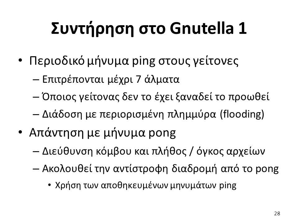 Συντήρηση στο Gnutella 1 Περιοδικό μήνυμα ping στους γείτονες – Επιτρέπονται μέχρι 7 άλματα – Όποιος γείτονας δεν το έχει ξαναδεί το προωθεί – Διάδοση με περιορισμένη πλημμύρα (flooding) Απάντηση με μήνυμα pong – Διεύθυνση κόμβου και πλήθος / όγκος αρχείων – Ακολουθεί την αντίστροφη διαδρομή από το pong Χρήση των αποθηκευμένων μηνυμάτων ping 28