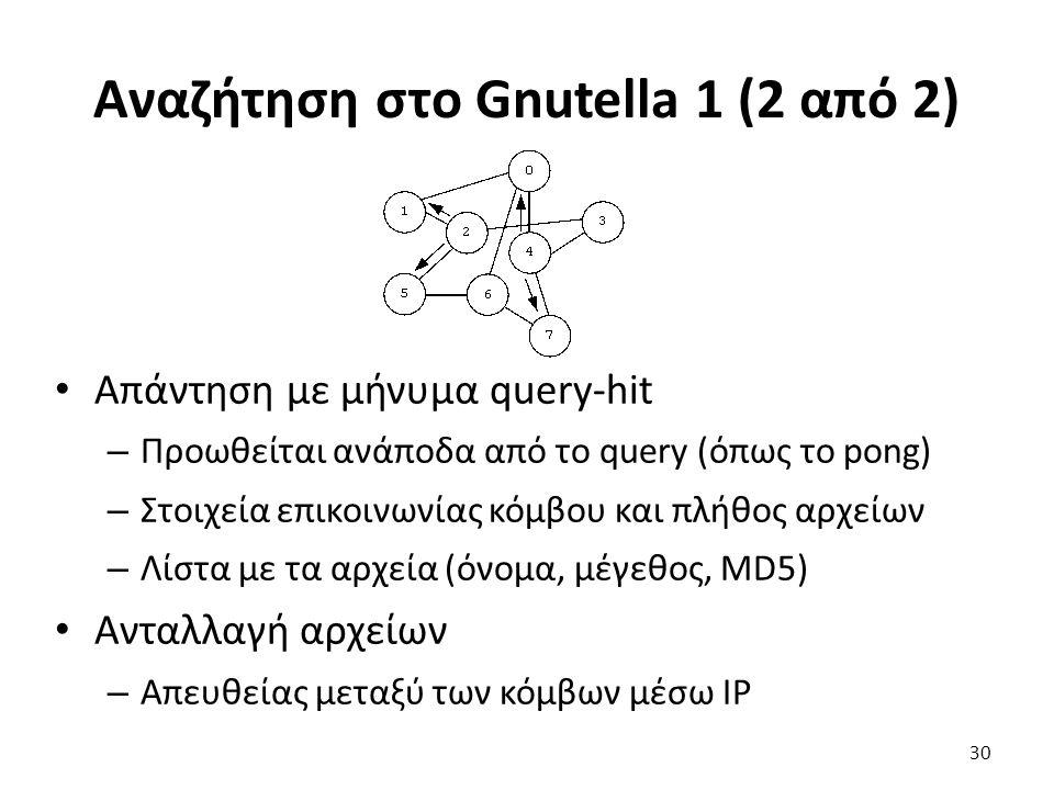 Αναζήτηση στο Gnutella 1 (2 από 2) Απάντηση με μήνυμα query-hit – Προωθείται ανάποδα από το query (όπως το pong) – Στοιχεία επικοινωνίας κόμβου και πλήθος αρχείων – Λίστα με τα αρχεία (όνομα, μέγεθος, MD5) Ανταλλαγή αρχείων – Απευθείας μεταξύ των κόμβων μέσω IP 30