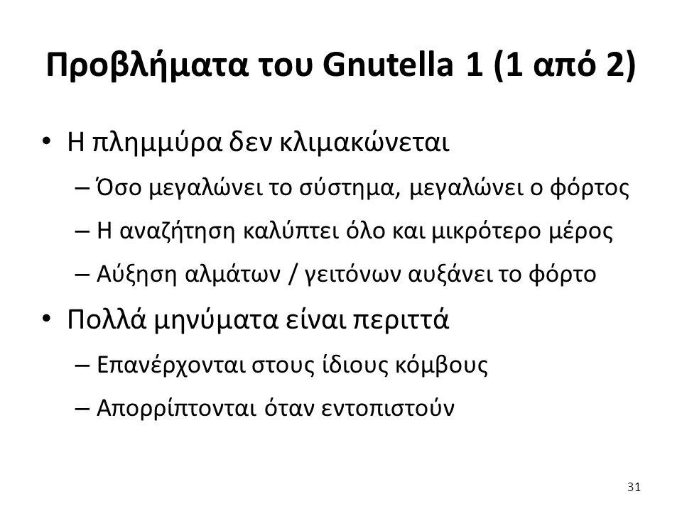 Προβλήματα του Gnutella 1 (1 από 2) Η πλημμύρα δεν κλιμακώνεται – Όσο μεγαλώνει το σύστημα, μεγαλώνει ο φόρτος – Η αναζήτηση καλύπτει όλο και μικρότερο μέρος – Αύξηση αλμάτων / γειτόνων αυξάνει το φόρτο Πολλά μηνύματα είναι περιττά – Επανέρχονται στους ίδιους κόμβους – Απορρίπτονται όταν εντοπιστούν 31