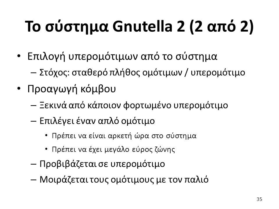 Το σύστημα Gnutella 2 (2 από 2) Επιλογή υπερομότιμων από το σύστημα – Στόχος: σταθερό πλήθος ομότιμων / υπερομότιμο Προαγωγή κόμβου – Ξεκινά από κάποιον φορτωμένο υπερομότιμο – Επιλέγει έναν απλό ομότιμο Πρέπει να είναι αρκετή ώρα στο σύστημα Πρέπει να έχει μεγάλο εύρος ζώνης – Προβιβάζεται σε υπερομότιμο – Μοιράζεται τους ομότιμους με τον παλιό 35