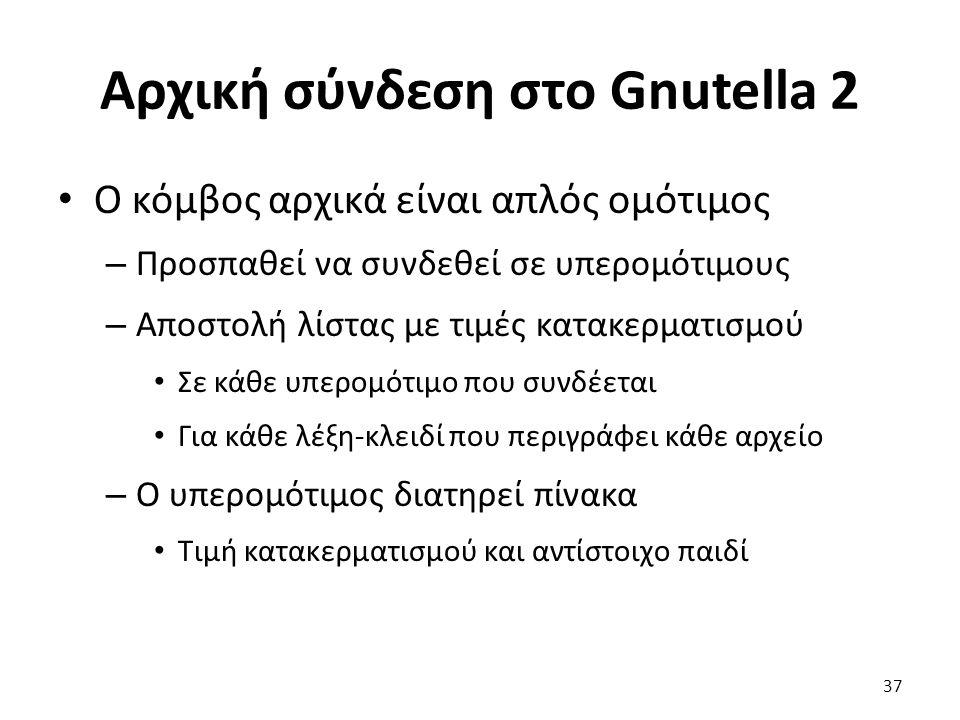 Αρχική σύνδεση στο Gnutella 2 Ο κόμβος αρχικά είναι απλός ομότιμος – Προσπαθεί να συνδεθεί σε υπερομότιμους – Αποστολή λίστας με τιμές κατακερματισμού Σε κάθε υπερομότιμο που συνδέεται Για κάθε λέξη-κλειδί που περιγράφει κάθε αρχείο – Ο υπερομότιμος διατηρεί πίνακα Τιμή κατακερματισμού και αντίστοιχο παιδί 37